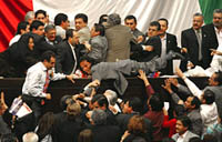 Fight on the Floor of the Mexican Congress