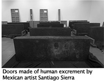 Doors made from human excrement by Mexican artist Santiago Sierra