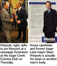 "U.S. House candidate and former Sugar Land mayor Dean Hrbacek""™s head on another man""™s body"