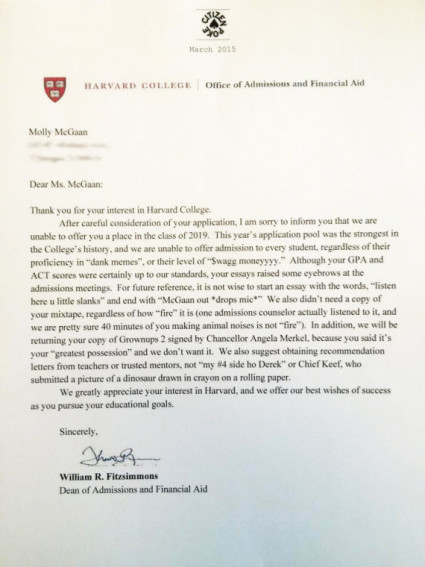Fake Harvard Rejection Letter