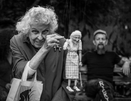 Doris Diether with her RicKy Syers puppet, photo by Victor Shoup